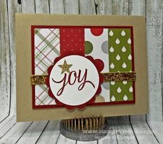 Quick and Easy Card with 6 x 6 Merry Moments Paper Stack . . . this layout easily translated into use with all Stampin' Up! Designer Papers!  Details on my blog . . . www.stampingeorgia.com