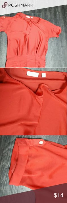 Beautiful  coral shirt This tapers at the waist with 3 pleats...really pretty on Tops Blouses
