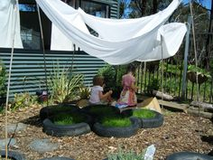 let the children play. natural outdoor play areas and ideas, easy shade using ba… – natural playground ideas Outdoor Learning Spaces, Kids Outdoor Play, Outdoor Play Areas, Outdoor Playground, Outdoor Fun, Playground Ideas, Outdoor Fabric, Preschool Playground, Preschool Garden
