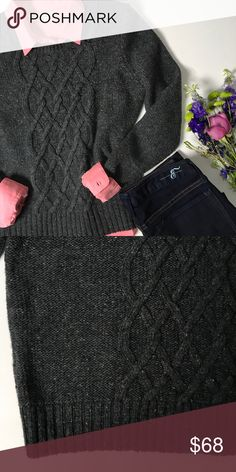 """Banana Republic Cable Knit Sweater Cozy Banana Republic gray cable knit sweater with a hint of multi-colored threading throughout. Perfect condition.  * 24.5"""" long * 19"""" across underarm to underarm  * 26.5"""" long sleeves  * Ribbed trim Banana Republic Sweaters Crew & Scoop Necks"""