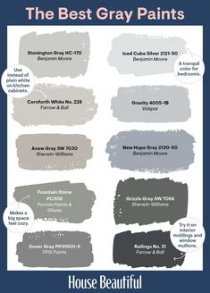 Whether you're aiming for bright and crisp or warm and cozy, there's a gray that will accomplish the task. Because choosing among seemingly endless number of grays in a fan deck can be a bit daunting, we've gathered designers' favorite hues to help you get started. #graypaint #bestpaintcolors Neutral Gray Paint, Shades Of Grey Paint, Light Grey Paint Colors, Best Gray Paint Color, Gray Color, Rustic Paint Colors, Favorite Paint Colors, Wall Colours, Blue Grey