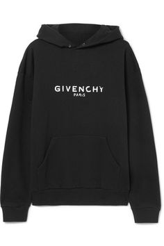Black and white cotton-jersey Distressed, ribbed trims Slips on cotton Dry clean Hoodie Outfit, Sweater Hoodie, Givenchy Hoodie, Madrid, Givenchy Paris, White Hoodie, Black Cotton, Printed Cotton, Hoodies