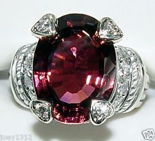 JUDITH RIPKA COUTURE LARGE CUSTOM LOLA 18K WG RUBELLITE TOURMALINE DIAMOND RING
