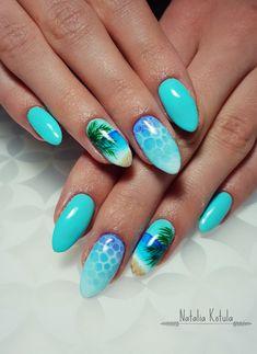 by me ;) #summernails #mintnails #oceavibes #nailsgoals #nailspromote #nailart Sea Nails, Mint Nails, Beach Nail Designs, Nail Art Designs, Tropical Nail Designs, Tropical Nail Art, Cute Nails, Pretty Nails, Summer Toe Nails
