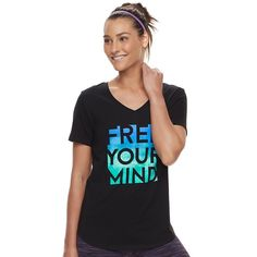 Women's Tek Gear® DRY TEK V-Neck Tee, Size: Xl Tall, Black