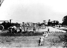 Auschwitz, Poland, Female and male Inmates constructing in the SS-guards' camp, near Birkenau.