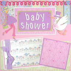 baby shower scrapbook layouts | 12 x 12 Premade Scrapbook Layout Baby Shower by ScrappyChicShop