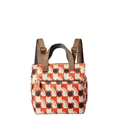 Orla Kiely | UK | bags | SALE - Bags | Poppy Cat Print Small Backpack (16SEPPC199) | persimmon