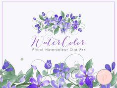 Blue Watercolor Flower Clipart Daisy Floral Clip Art