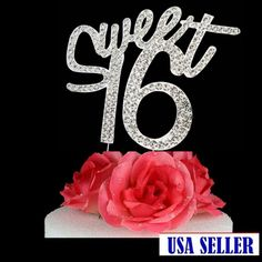 Large Rhinestone Crystal ***SWEET 16 *** Birthday Cake Toppers