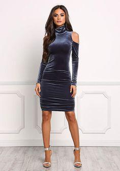 Midnight Blue Cold Shoulder Velvet Bodycon Dress - Bodycon - Dresses