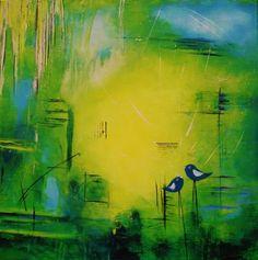 """ingemalt (©2012 ingeborgzinn.com) abstraktes Werk, datiert und signiert, Unikat    das 1. Bild aus der Serie """"love birds""""    Acryl, Mischtechnik auf Leinwand"""