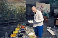 Kiefer at work in his studio in Croissy-Beauborg, 2014. Photographed by Laura Stevens