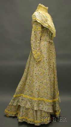 Late 19th Century Floral Printed Silk and Lace Embellished Two-piece Outfit