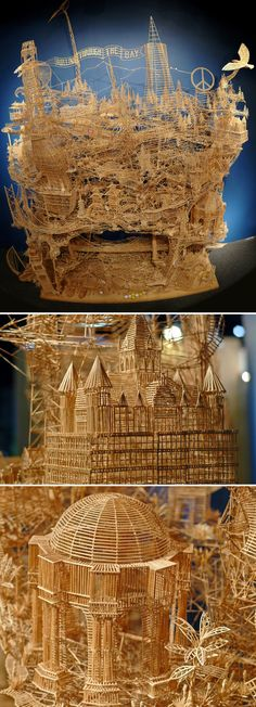 An incredible kinetic sculpture of San Francisco made of 100,000 toothpicks and took 35 years to build. By Scott Weaver. See video here https://vimeo.com/22461692