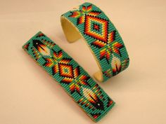 "Handmade Navajo Matching Beaded Bracelet & Barrette ""Copper Inside"" Barber #Cuff"