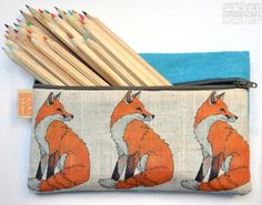 Fox Illustration Linen Zipper Pencil Pouch / Makeup Bag / Pencil Case Fox Gift by ceridwenDESIGNby Ceridwen Hazelchild Design Zipper Pencil Case, Pencil Pouch, Pencil Organizer, Fox Bag, Fox Illustration, Fox Print, Shops, Polka Dot Fabric, Woodland Animals