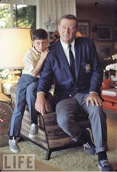 awesome John Wayne at home with son John Ethan. John Wayne my hero John Wayne Quotes, John Wayne Movies, Hollywood Stars, Classic Hollywood, Old Hollywood, Classic Movie Stars, Classic Movies, Wayne Family, Westerns