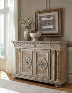 THIS CHALK PAINTED SIDE TABLE/BUFFET/ACCENT TABLE CHEST WOULD BE LOVELY IN A FRENCH COUNTRY DECOR.CHERIE