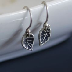 Tiny Leaf Earrings - Etched Sterling Silver
