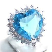 Reduced~$14.99 Stunning 18KGP Aquamarine Sapphire Heart Ring