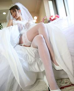 That Brides stocking tops exposed