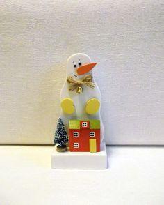 Snowman/Christmas/Homedecor/LittleWoodenHouses/Wood/Miniature