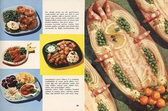 A Whitefish, Shrimp, And Pea Seafood Monstrosity, presented alongside less frightening seafood dishes, from The Family Circle Fish and Poultry Cookbook, 1955.
