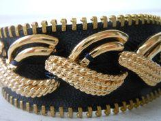 Zipper Bracelet Black Gold Eco Friendly OOAK by JBCountryCouture, $18.00