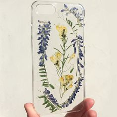 handmade pressed dried field wild flower clear case for iphone