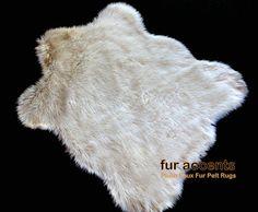 "NEW Faux Fur Rug / Fine Shaggy Off White Sheepskin Area Carpet / Accent Throw Rug / Plush 30"" Sheepskin Pelt Rug"
