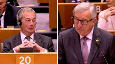 """Juncker vs. Farage: GOD BLESS Nigel Farage. He is a one man anti-cabal Jedi who loves democracy.God Bless the British, who always choose the path that takes man genuinely forward. The rest want the Cabals BRAVE NEW WORLD DisORDER. Based on Hegels """"Disorder"""" which brings ones influenced order (and profit) out of chaos. If you are pissed that such a seditious and sick thing has come thus far- join the ranks of billions who have been duped by this species over thousands of years.."""