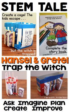Fairy tale: STEM Activity for Kids - use a familiar fairy tale to work through the engineering design process.Hansel and Gretel Trap the Witch is perfect for your little engineers in grades Ask Imagine Plan Create Improve Fairy Tale Activities, Steam Activities, Science Activities, Science Lessons, Activities For Kids, Stem Learning, Project Based Learning, Défis Stem, Fairy Tales Unit