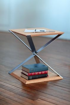 Aviator Inspired End Table Industrial Metal Aluminum Oak Urban Modern Edgy Designer Furniture Silver | Biplane Table