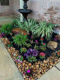 Front Yard Garden Design, Garden Yard Ideas, Garden Projects, Front House Garden Ideas, Simple Garden Ideas, Cheap Garden Ideas, Garden Decorations, Rock Garden Design, Garden Ideas With Stones