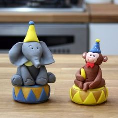 Circus Cake Toppers - Elephant & Monkey