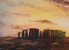 Fine art watercolor painting of prehistoric monument of Stonehenge silhouetted at sunset in the English countryside