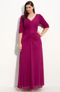 Alex Evenings Ruched V-Neck Gown (Plus)