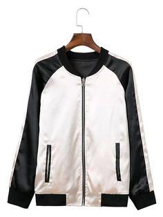 Women Contrast Color Long Sleeve Baseball Uniform Casual Jacket