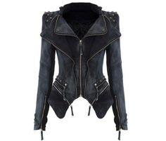 Black denim stud jacket. Hipster goth metal alternative festival biker coat S 8