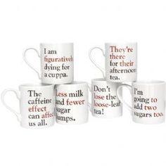 Cute coffee mugs: Grammar Grumble Mugs - Set of all six