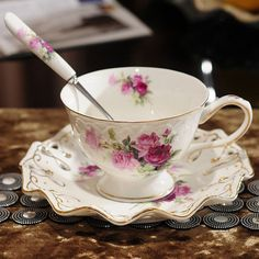 Ontinental European Tea Set Ceramic Coffee Cup Suit British Style With A Spoon