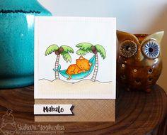 Mahalo Cat on Beach Card by Yukari Yoshioka | Aloha Newton Stamp set by Newton's Nook Designs #newtonsnook