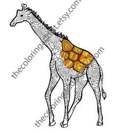 Giraffe Coloring Sheet Animal Pdf Zentangle Colouring Page Intricate Design Sketch Grown Up