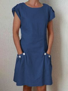 cf7f1dc783f2 Justfashionnow Summer Dresses 1 Sundress Holiday Shift Round Neck Buttoned  Short Sleeve Casual Dresses