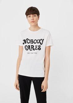 Μπλουζάκι βαμβακερό μήνυμα | MANGO ΜΑΝΓΚΟ