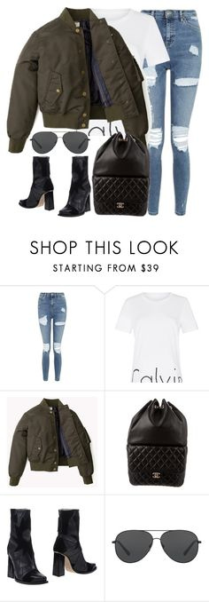 """""""Untitled #3017"""" by elenaday ❤ liked on Polyvore featuring Topshop, Calvin Klein, Chanel, MSGM and Michael Kors"""