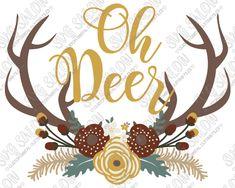 Oh Deer Floral Swag Antlers Custom DIY Vinyl Mug Decal Cutting File / Printable Clipart in SVG, EPS, DXF, JPEG, and PNG Format
