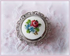 Vintage Petit Point Brooch -Cross Stitch Flowers in Silver Tone Filigree Setting
