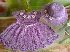 Vestido Infantil em Crochet com Chapéu